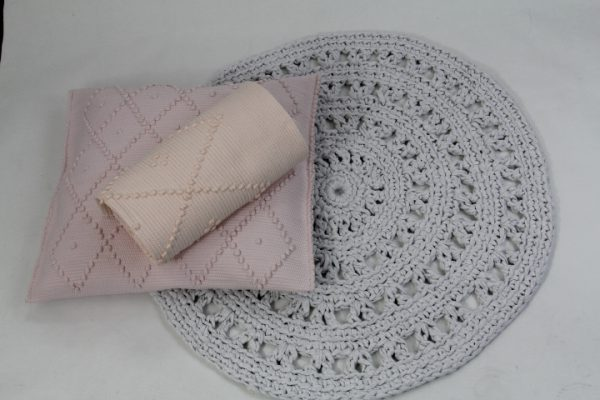 arab licht grijs gehaakt katoenen kleed medium