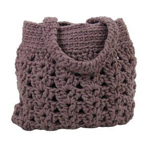 arab violet gehaakte wollen tas