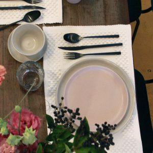 dessert bord poeder roze mat ceramic aardewerk medium