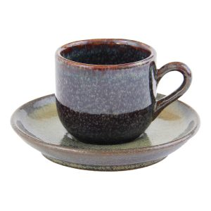 espresso kop en schotel oker glaze ceramic
