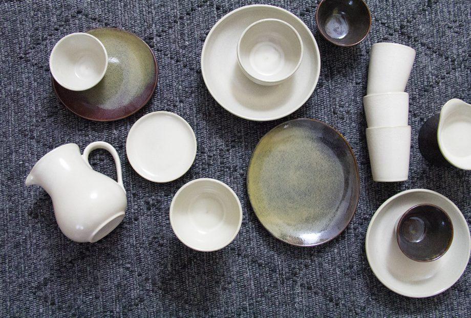 kan melk wit glaze ceramic large