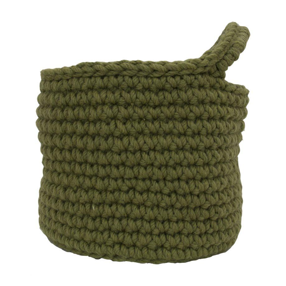 nordic olijf groen gehaakte wollen mand medium