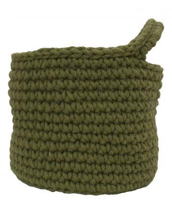 nordic olive green crochet woolen basket