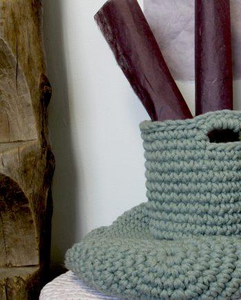 nordic sage crochet woolen basket