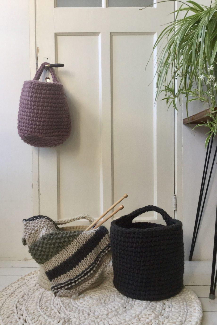 nordic violet en antraciet crochet woolen basket