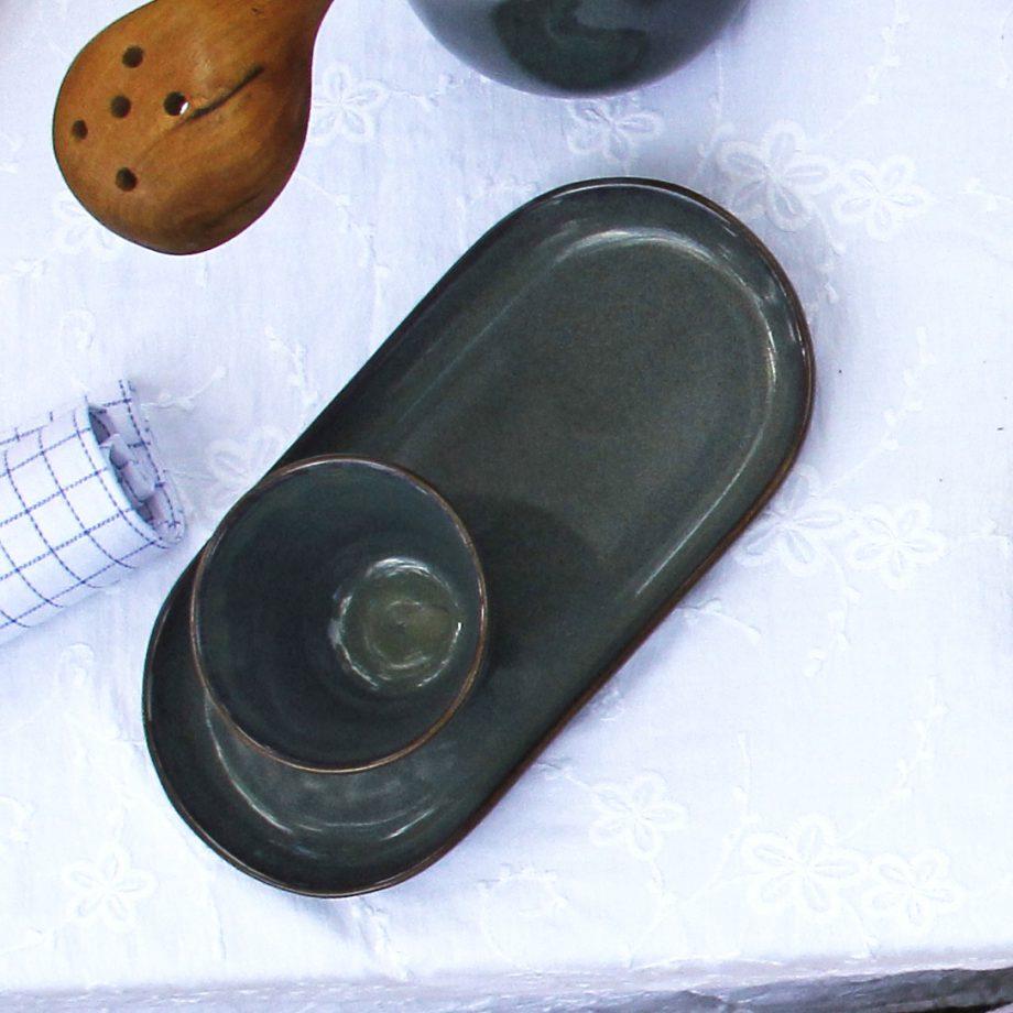 ovaal amuse schaal celadon glaze ceramic medium