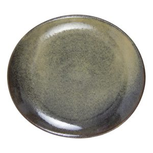 ovaal bord oker glaze ceramic medium