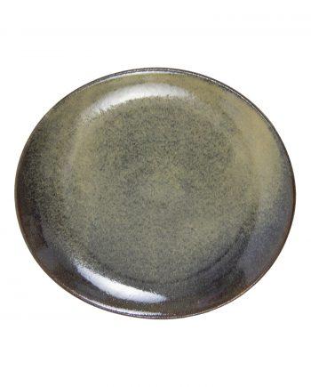 ovaal bord oker glaze ceramic medium
