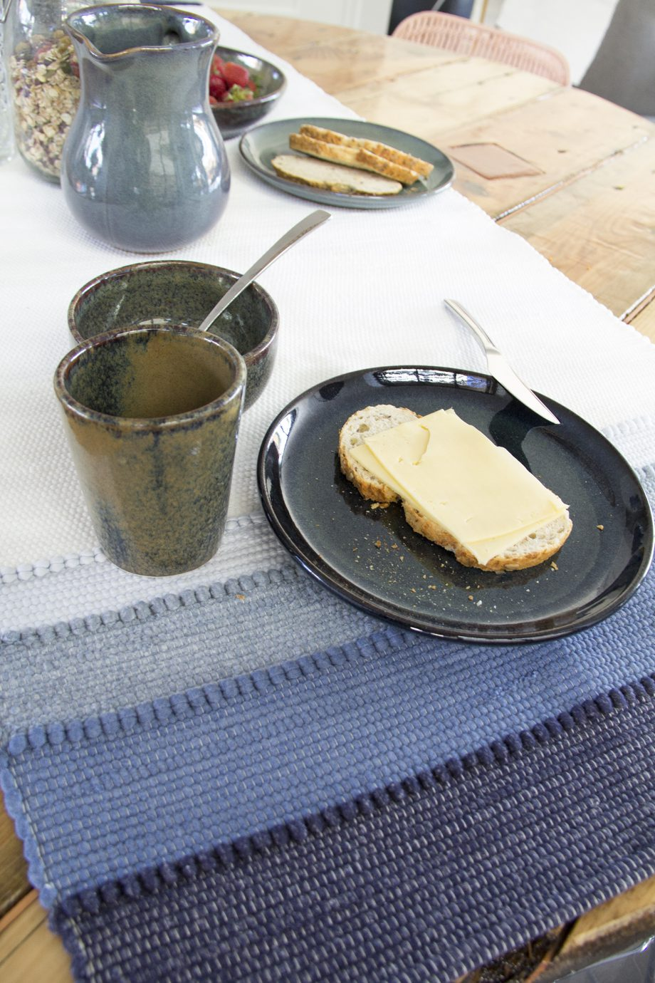 shadow jeans blauw geweven katoenen tafelloper medium