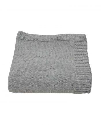 spots licht grijs gebreide katoenen deken large