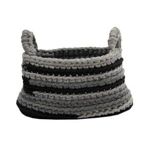 stripy grijs gehaakt katoenen mand large