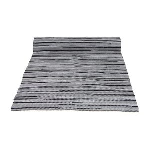 stripy grijs geweven katoenen kleed medium