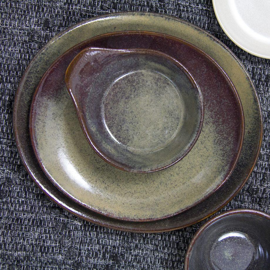 styling glaze ceramic oker tapasschaaltje ovaal borden