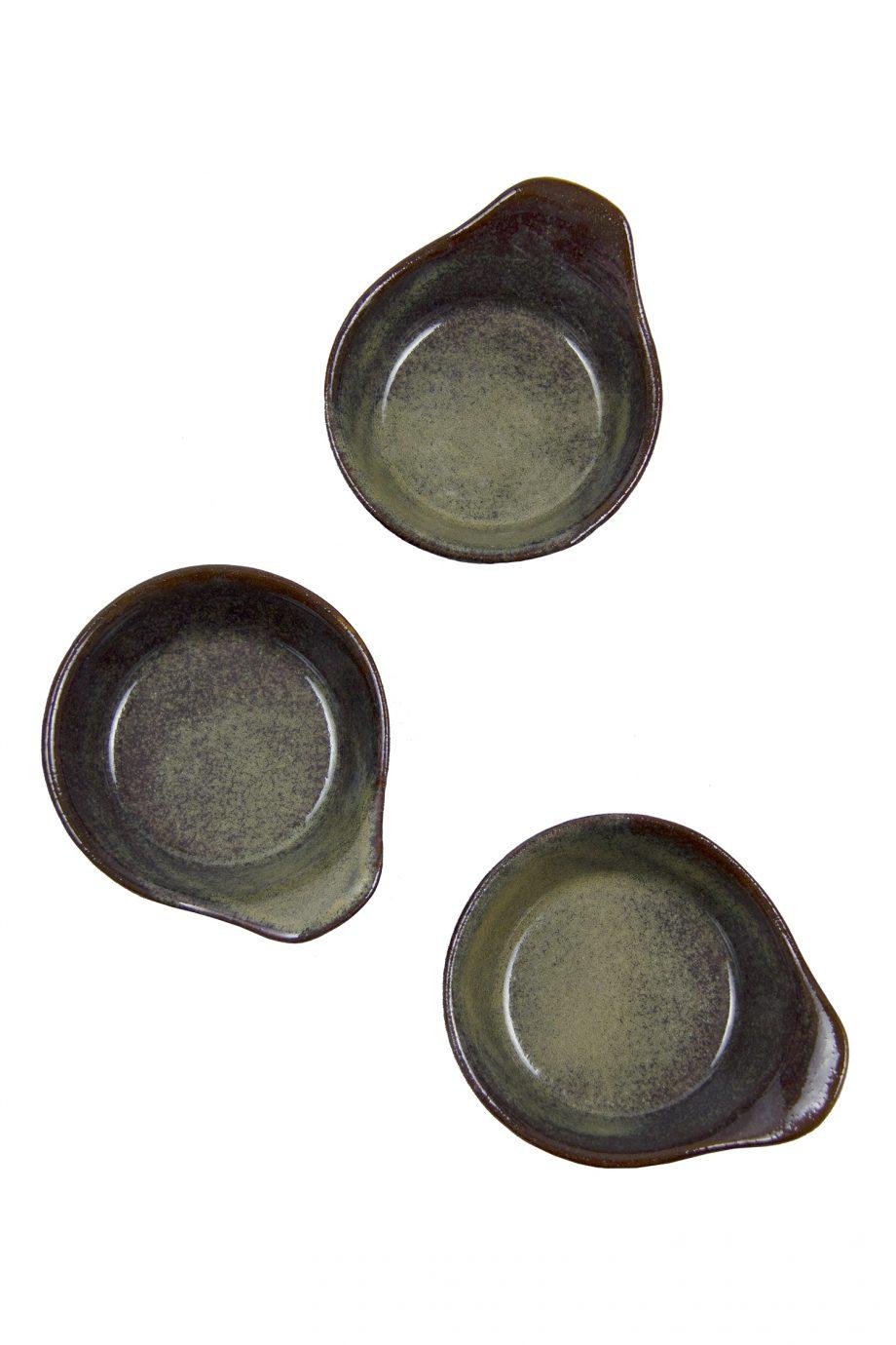 tapas schaal oker glaze ceramic small