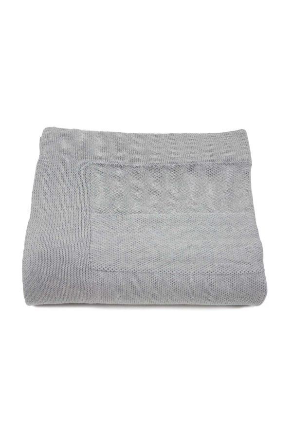 urban licht grijs gebreide katoenen deken large