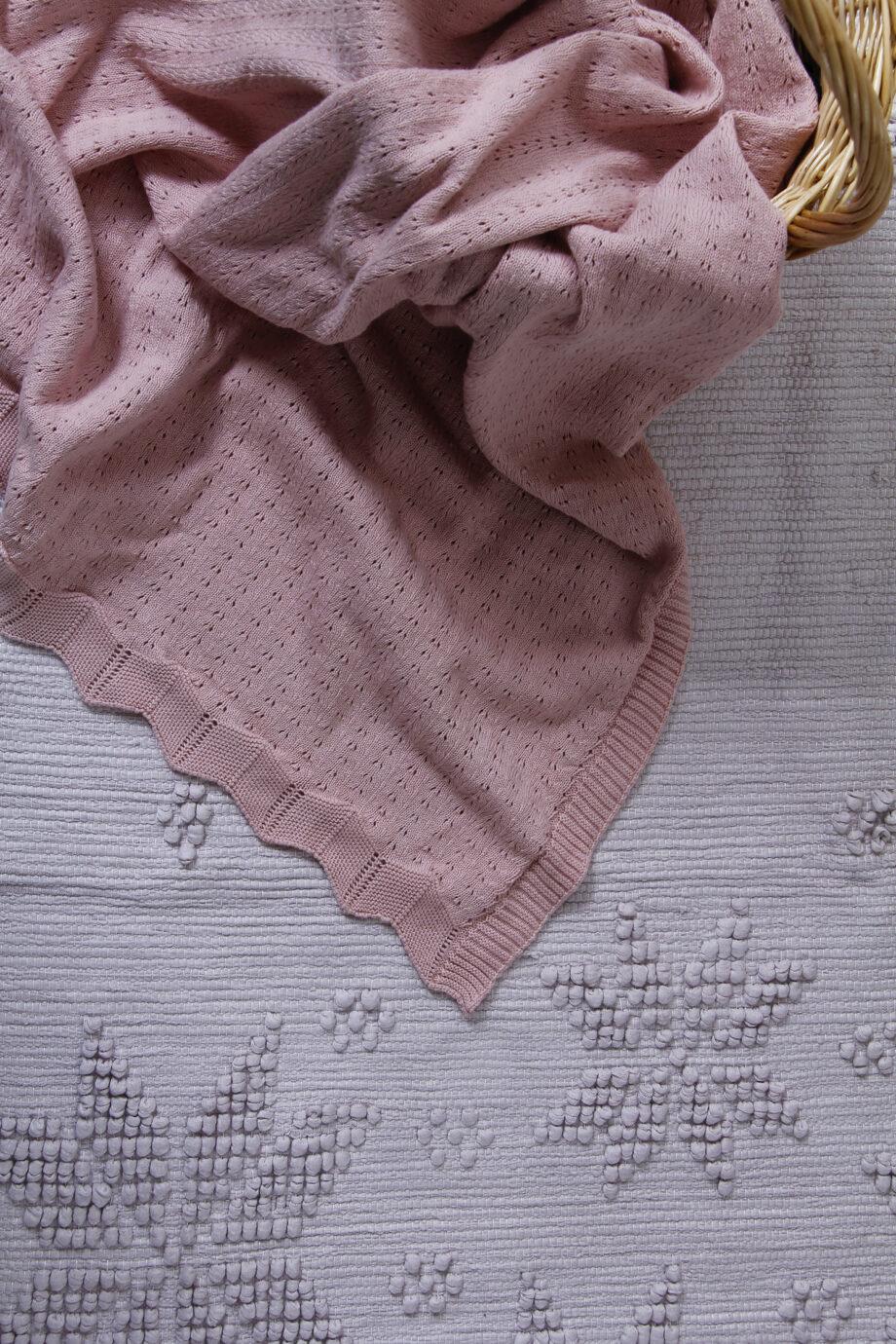 styling geweven katoenen badmat, snowflakes, poeder roze