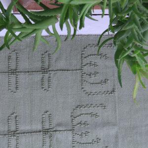 summerflowers olijf groen geweven katoenen kleed medium